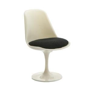 Miniatura da Cadeira Tulipa sem braço - Branco e Preto - MoBi Design
