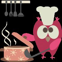 Adesivo Coruja Cozinheira